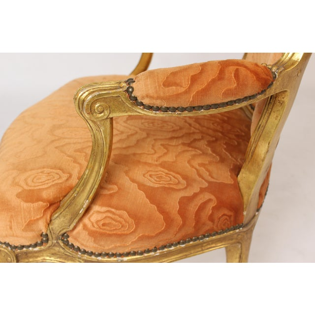 Antique Louis XV Style Gilt Wood Armchairs - a Pair For Sale In Los Angeles - Image 6 of 11