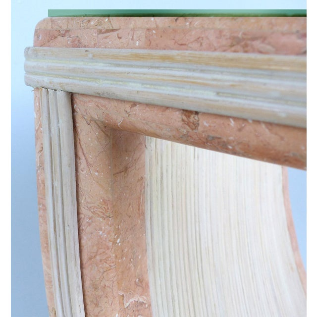 1980s Gabriella Crespi Style Reed and Faux Painted Marble Console Table or Dining Base For Sale - Image 5 of 13