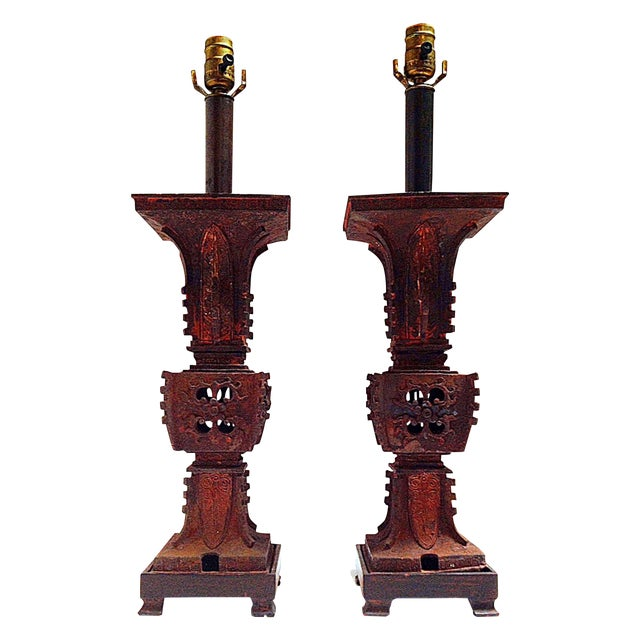 Qing Dynasty Iron Gu Vase Lamps - Pair - Image 1 of 11