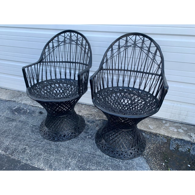 Mid Century Russell Woodard Spun Arm Chairs - A Pair For Sale - Image 9 of 9