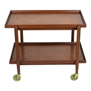 Mid 20th Century Poul Hundevad Danish Modern Expanding Rolling Bar Cart For Sale