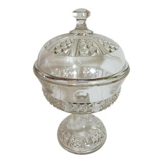 Victorian Glass Biscuit Compote on Stand W/ Lid For Sale