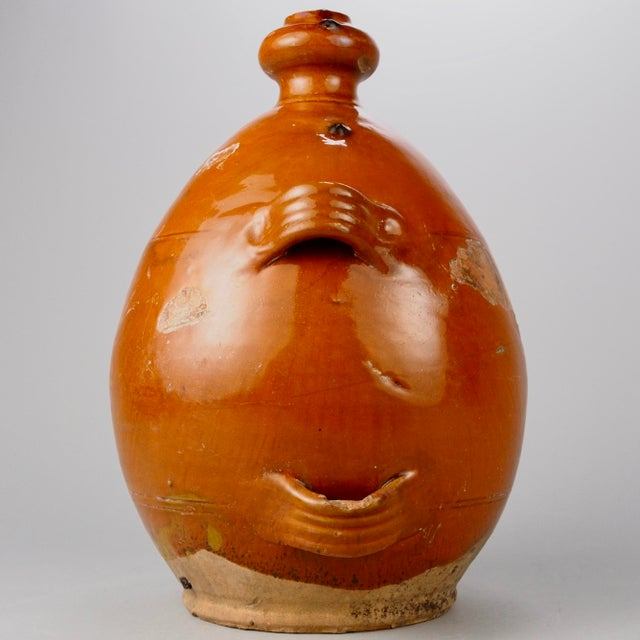 French Brown Pottery Jug with Four Handles For Sale - Image 4 of 6