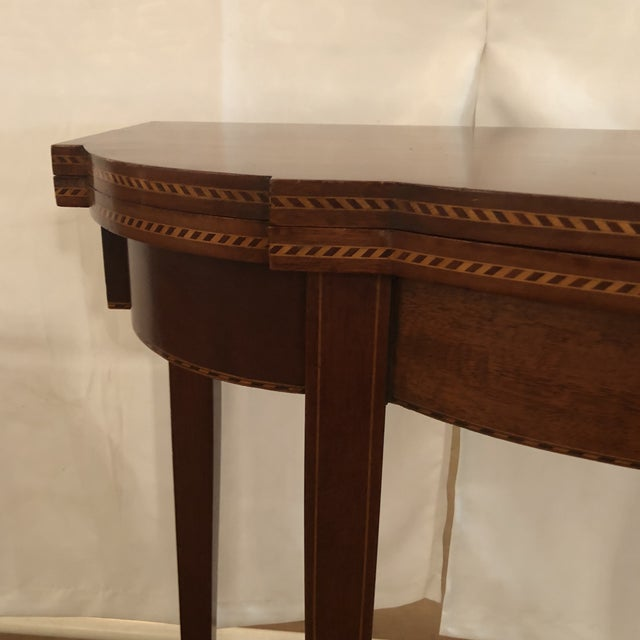 1900s 1900s Federal Inlaid Mahogany Game Table For Sale - Image 5 of 13