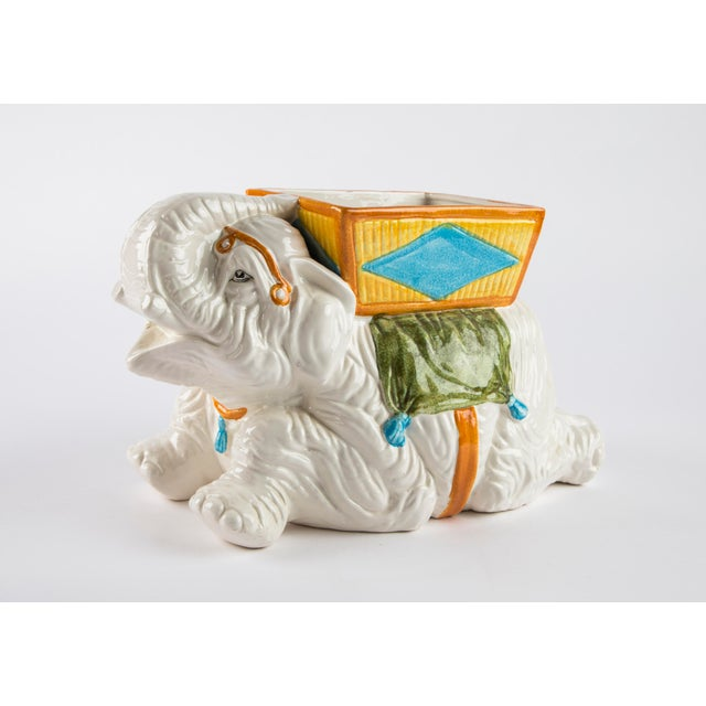 Hollywood Regency Hand Painted Italian Elephant Planter For Sale - Image 3 of 9