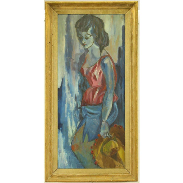 Oil on canvas of a blue woman wearing a red top, holding a Mexican hat. Painted in the expressionistic style. Rustic wood...