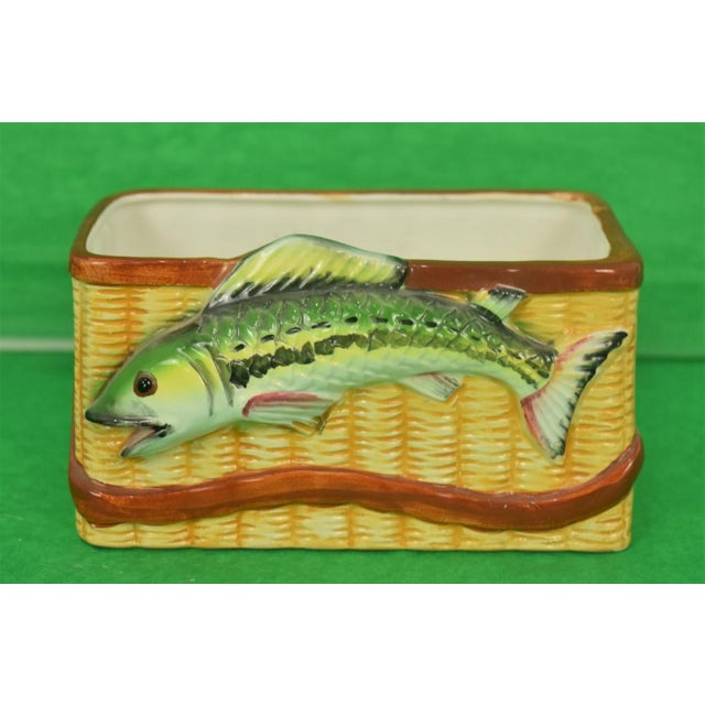 Trout Creel Ceramic Basket For Sale - Image 4 of 4