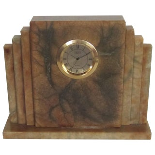 Italian Alabaster Marble Art Deco Clock by Oggetti For Sale