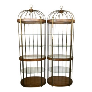 Pair Mastercraft Birdcage Etageres For Sale