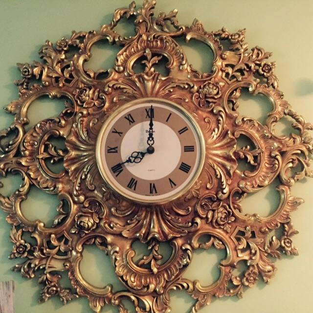 Mid-Century Modern Syroco Gilt Wall Clock - Image 7 of 7