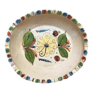 1930s Vintage Mexican Handmade Terra Cotta Plate For Sale