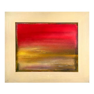 """""""Nalut"""" Contemporary Abstract Landscape Mixed-Media Painting, Framed For Sale"""