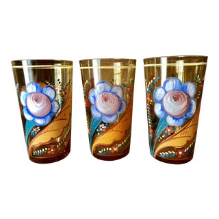 Hand-Painted Floral Amber Pint Glasses- Set of 3 For Sale