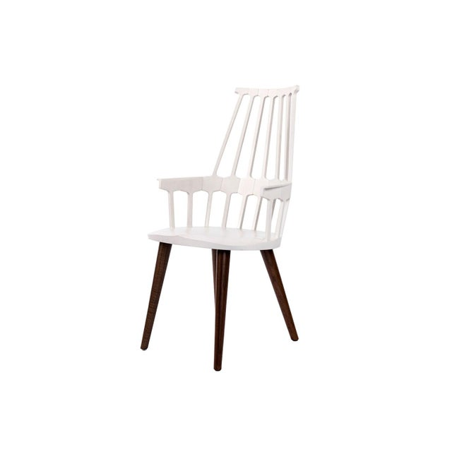 2010s Kartell White Thermoplastic Shell Seat With Oak Stained Leg Dining Chair For Sale - Image 5 of 5