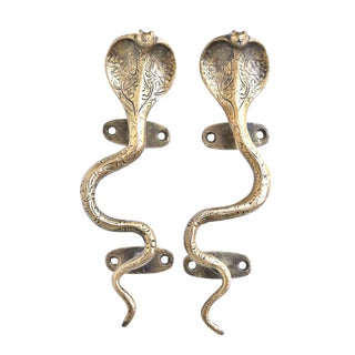 Brass Cobra Door Handles - a Pair For Sale