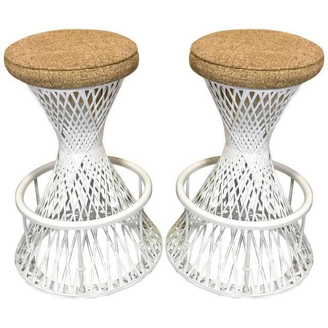 Woven and Spun Fiberglass Bar Stools by Robert Woodard - A Pair For Sale - Image 9 of 9