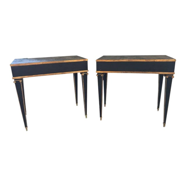 Maison Jansen Style End Table in Leather Top and Bronze-Mounted Legs - A Pair For Sale