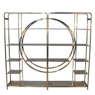 Milo Baughman Geometric Brass Etageres - A Pair