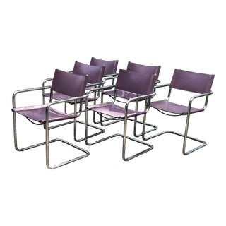 1980s Vintage Marcel Breuer for Matteo Grassi 'Mg5' Chairs - Set of 6 For Sale
