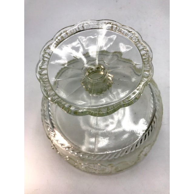 1940s 1940s Art Deco Pressed Sandwich Glass Compote Bowl For Sale - Image 5 of 7
