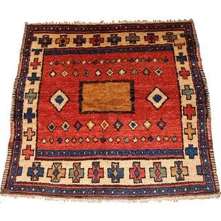 1850s Hand Made Antique Collectible Turkish Village Rug 4.6' X 5.2'