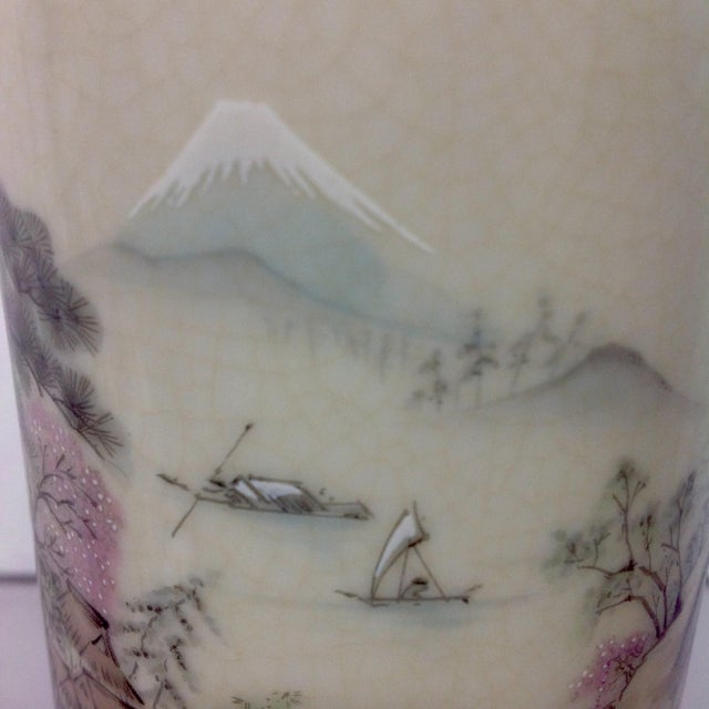 Japanese Arita Hand-Painted Porcelain Vase For Sale - Image 5 of 7