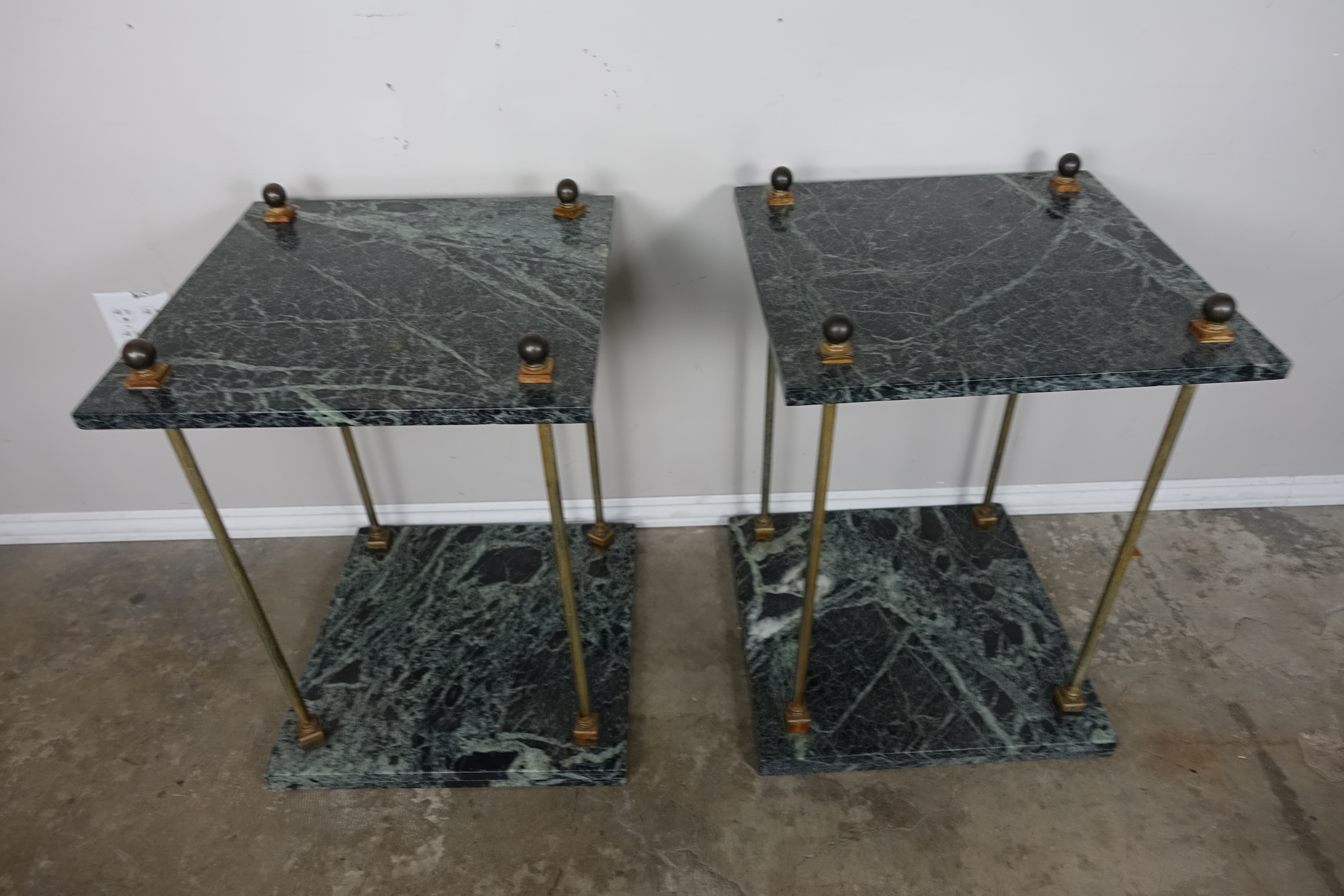 Pair Of Transitional Style Green Marble U0026 Brass Two Tiered Tables.