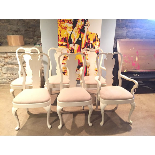 White Wood Dining Chairs - Set of 6 - Image 2 of 11