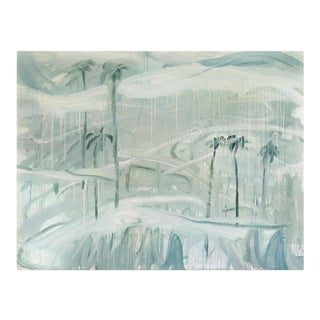 """Contemporary Abstract Acrylic and Pastel on Un-Stretched Canvas Painting """"Flying Allies on Their Way to Antelope Valley (To Mb)"""" by Macha Poynder For Sale"""