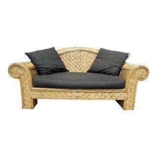 Boho Chic Wicker Frame & Black Cushion Outdoor Sofa