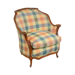 French Louis XV Style Vintage Walnut Bergere Club Chair For Sale