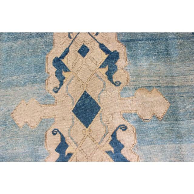 Turquoise Vintage Mid-Century Turkish Oushak Rug - 10′ × 12′ For Sale - Image 8 of 9