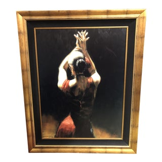 """Flamenco Dancer in Red Dress"" Painting Signed & Numbered by Fabian Perez For Sale"