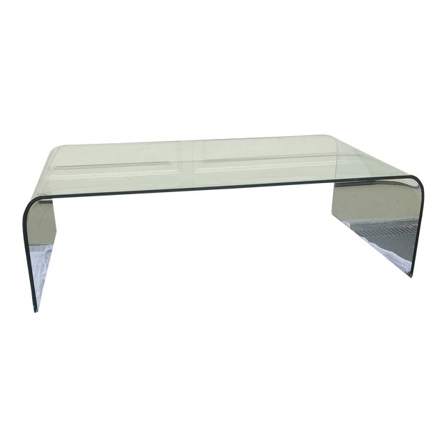 1980s Modern Angelo Cortesi for Fiam Italia Glass Waterfall Coffee Table For Sale