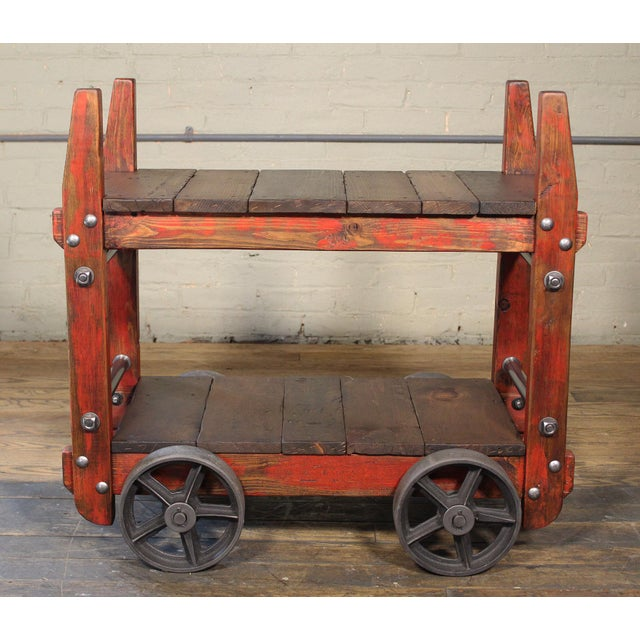 Metal Industrial Bar Cart For Sale - Image 7 of 12