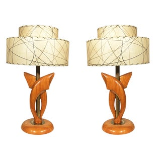 Jascha Heifetz Free-Form Oak and Brass Table Lamps, Pair For Sale