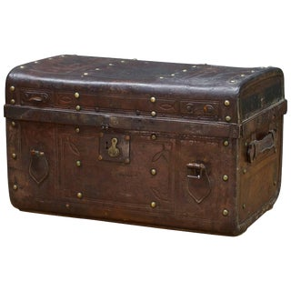 Vintage Ratrod Leather Rumble Box Trunk Steamer Luggage Model T Ford Rolls Royce For Sale