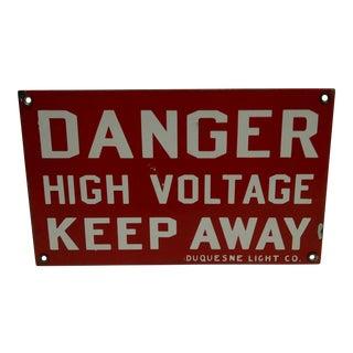 """Vintage Porcelain """"High Voltage"""" Sign For Sale"""