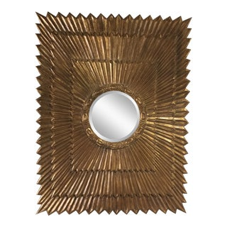 1970s Italian Large Giltwood Sunburst Mirror For Sale