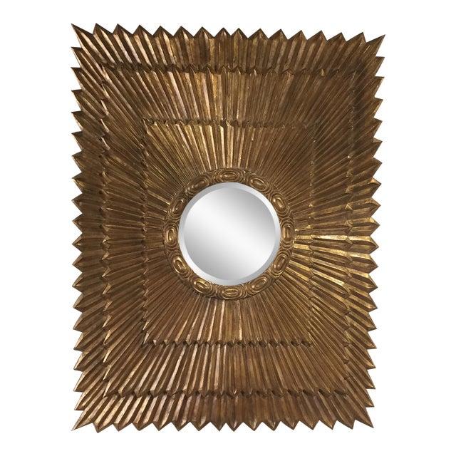 1970s Italian Large Giltwood Sunburst Mirror For Sale