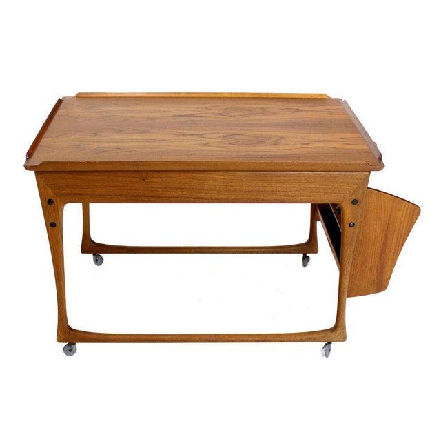 Brown Danish Modern Rolling Teak Bar Cart For Sale - Image 8 of 9