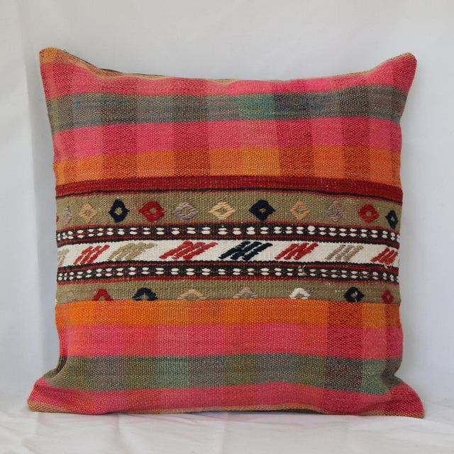 "Kilim Turkish Handmade Pillow Cover - 16""x16"" wool kilim rug pillow. Fill your home with the timeless patterns, colors,..."