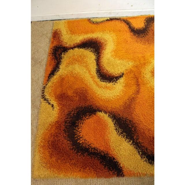 Mid-Century Modern Mid-Century Modern Orange Shag Rug For Sale - Image 3 of 6