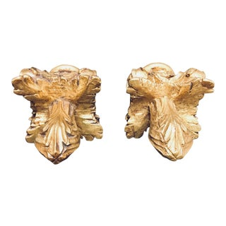 Niermann Weeks Gilded Acanthus Finials Drapery Rod or Other Use - a Pair For Sale