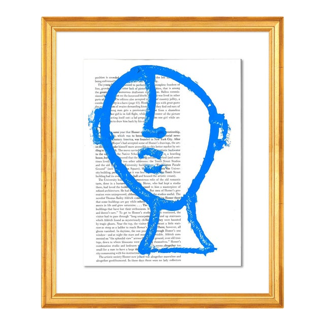 Man on the Moon by Virginia Chamlee in Gold Frame, Small Art Print For Sale