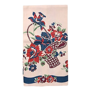 Vintage Flower Basket Tea Towel For Sale