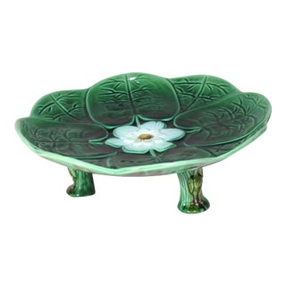 1880s Antique Majolica Water Lily Serving Dish For Sale