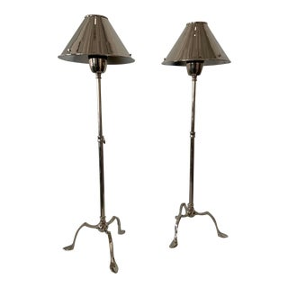 Grasshopper Adjustable Polished Nickel Lamps - A Pair For Sale