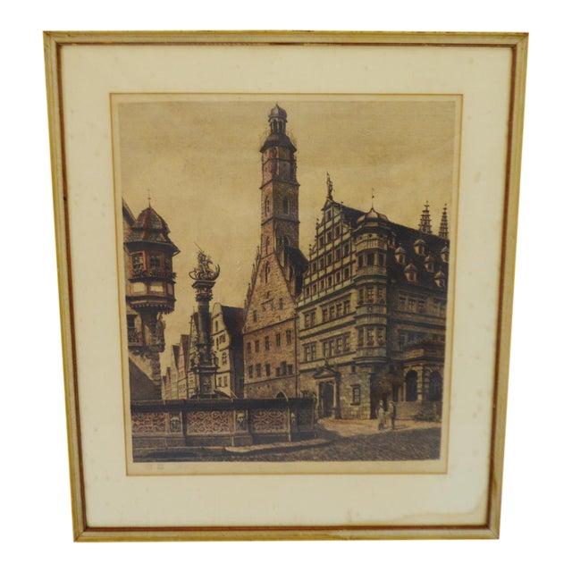 Vintage Ernst Geissendorfer Etching For Sale