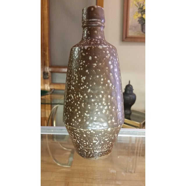 1960s Portuguese Artisan Stoneware Bottle Vase For Sale - Image 5 of 6
